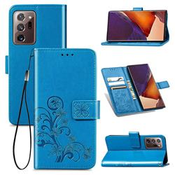 Embossing Imprint Four-Leaf Clover Leather Wallet Case for Samsung Galaxy Note 20 Ultra - Blue