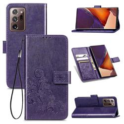 Embossing Imprint Four-Leaf Clover Leather Wallet Case for Samsung Galaxy Note 20 Ultra - Purple