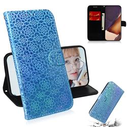 Laser Circle Shining Leather Wallet Phone Case for Samsung Galaxy Note 20 Ultra - Blue