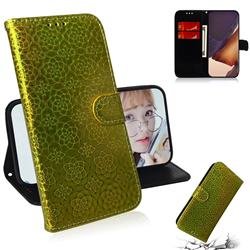 Laser Circle Shining Leather Wallet Phone Case for Samsung Galaxy Note 20 Ultra - Golden