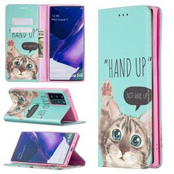 Hand Up Cat Slim Magnetic Attraction Wallet Flip Cover for Samsung Galaxy Note 20 Ultra
