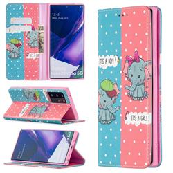 Elephant Boy and Girl Slim Magnetic Attraction Wallet Flip Cover for Samsung Galaxy Note 20 Ultra