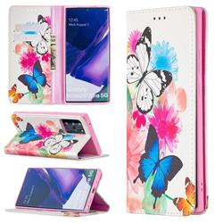 Flying Butterflies Slim Magnetic Attraction Wallet Flip Cover for Samsung Galaxy Note 20 Ultra
