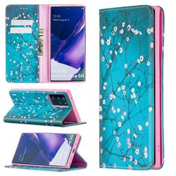 Plum Blossom Slim Magnetic Attraction Wallet Flip Cover for Samsung Galaxy Note 20 Ultra