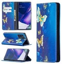 Gold Butterfly Slim Magnetic Attraction Wallet Flip Cover for Samsung Galaxy Note 20 Ultra