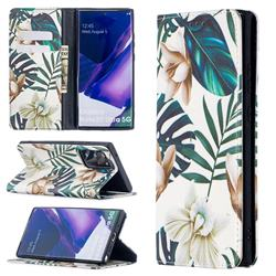 Flower Leaf Slim Magnetic Attraction Wallet Flip Cover for Samsung Galaxy Note 20 Ultra