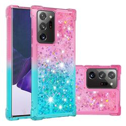 Rainbow Gradient Liquid Glitter Quicksand Sequins Phone Case for Samsung Galaxy Note 20 Ultra - Pink Blue