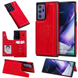 Luxury Tree and Cat Multifunction Magnetic Card Slots Stand Leather Phone Back Cover for Samsung Galaxy Note 20 Ultra - Red