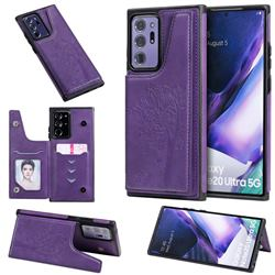 Luxury Tree and Cat Multifunction Magnetic Card Slots Stand Leather Phone Back Cover for Samsung Galaxy Note 20 Ultra - Purple