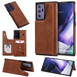 Luxury Tree and Cat Multifunction Magnetic Card Slots Stand Leather Phone Back Cover for Samsung Galaxy Note 20 Ultra - Brown