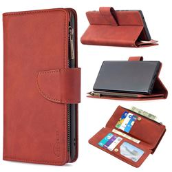 Binfen Color BF02 Sensory Buckle Zipper Multifunction Leather Phone Wallet for Samsung Galaxy Note 20 Ultra - Brown