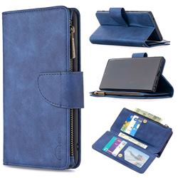 Binfen Color BF02 Sensory Buckle Zipper Multifunction Leather Phone Wallet for Samsung Galaxy Note 20 Ultra - Blue