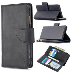 Binfen Color BF02 Sensory Buckle Zipper Multifunction Leather Phone Wallet for Samsung Galaxy Note 20 Ultra - Black
