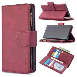 Binfen Color BF02 Sensory Buckle Zipper Multifunction Leather Phone Wallet for Samsung Galaxy Note 20 Ultra - Red Wine