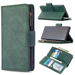 Binfen Color BF02 Sensory Buckle Zipper Multifunction Leather Phone Wallet for Samsung Galaxy Note 20 Ultra - Dark Green