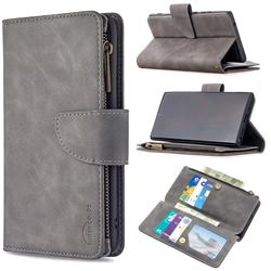 Binfen Color BF02 Sensory Buckle Zipper Multifunction Leather Phone Wallet for Samsung Galaxy Note 20 Ultra - Gray