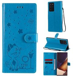 Embossing Bee and Cat Leather Wallet Case for Samsung Galaxy Note 20 Ultra - Blue