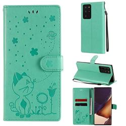 Embossing Bee and Cat Leather Wallet Case for Samsung Galaxy Note 20 Ultra - Green