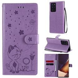 Embossing Bee and Cat Leather Wallet Case for Samsung Galaxy Note 20 Ultra - Purple