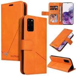 GQ.UTROBE Right Angle Silver Pendant Leather Wallet Phone Case for Samsung Galaxy Note 20 Ultra - Orange