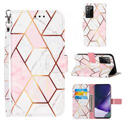 Pink White Stitching Color Marble Leather Wallet Case for Samsung Galaxy Note 20 Ultra