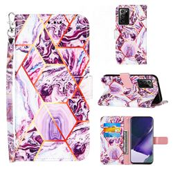 Dream Purple Stitching Color Marble Leather Wallet Case for Samsung Galaxy Note 20 Ultra