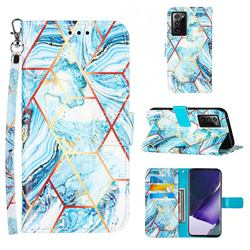 Lake Blue Stitching Color Marble Leather Wallet Case for Samsung Galaxy Note 20 Ultra