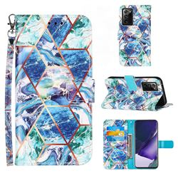 Green and Blue Stitching Color Marble Leather Wallet Case for Samsung Galaxy Note 20 Ultra