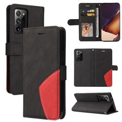 Luxury Two-color Stitching Leather Wallet Case Cover for Samsung Galaxy Note 20 Ultra - Black