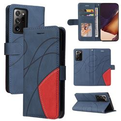 Luxury Two-color Stitching Leather Wallet Case Cover for Samsung Galaxy Note 20 Ultra - Blue