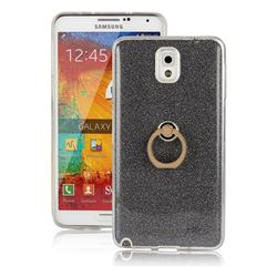 Luxury Soft TPU Glitter Back Ring Cover with 360 Rotate Finger Holder Buckle for Samsung Galaxy Note 3 N900 - Black