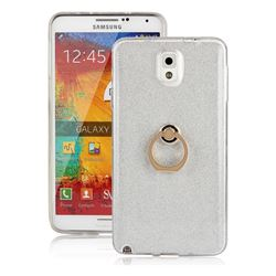 Luxury Soft TPU Glitter Back Ring Cover with 360 Rotate Finger Holder Buckle for Samsung Galaxy Note 3 N900 - White