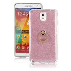 Luxury Soft TPU Glitter Back Ring Cover with 360 Rotate Finger Holder Buckle for Samsung Galaxy Note 3 N900 - Pink