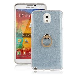 Luxury Soft TPU Glitter Back Ring Cover with 360 Rotate Finger Holder Buckle for Samsung Galaxy Note 3 N900 - Blue