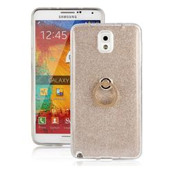 Luxury Soft TPU Glitter Back Ring Cover with 360 Rotate Finger Holder Buckle for Samsung Galaxy Note 3 N900 - Golden