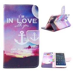 In Love Anchor Leather Wallet Case for Samsung Galaxy Note 3 N9000 N9005