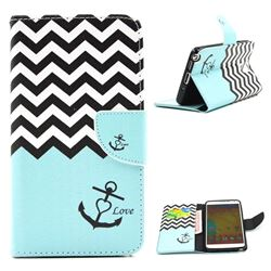 Wave Anchor Leather Wallet Case for Samsung Galaxy Note 3 N9000 N9005