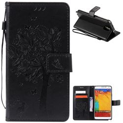 Embossing Butterfly Tree Leather Wallet Case for Samsung Galaxy Note 3 - Black