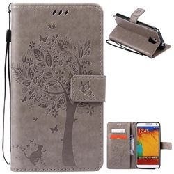 Embossing Butterfly Tree Leather Wallet Case for Samsung Galaxy Note 3 - Grey