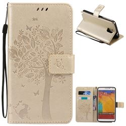Embossing Butterfly Tree Leather Wallet Case for Samsung Galaxy Note 3 - Champagne
