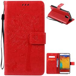 Embossing Butterfly Tree Leather Wallet Case for Samsung Galaxy Note 3 - Red