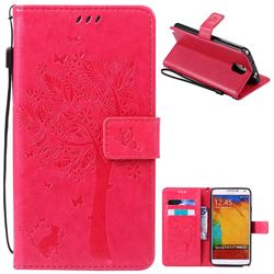 Embossing Butterfly Tree Leather Wallet Case for Samsung Galaxy Note 3 - Rose