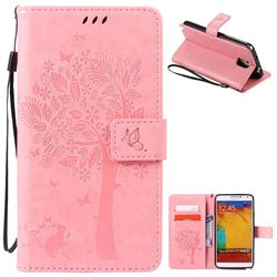 Embossing Butterfly Tree Leather Wallet Case for Samsung Galaxy Note 3 - Pink