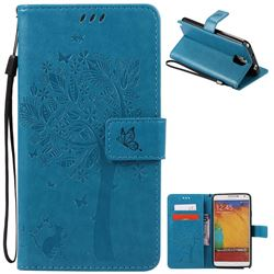 Embossing Butterfly Tree Leather Wallet Case for Samsung Galaxy Note 3 - Blue