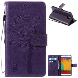 Embossing Butterfly Tree Leather Wallet Case for Samsung Galaxy Note 3 - Purple