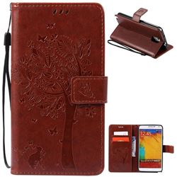 Embossing Butterfly Tree Leather Wallet Case for Samsung Galaxy Note 3 - Brown