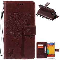 Embossing Butterfly Tree Leather Wallet Case for Samsung Galaxy Note 3 - Coffee