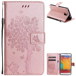 Embossing Butterfly Tree Leather Wallet Case for Samsung Galaxy Note 3 N900 - Rose Pink