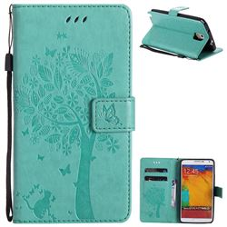 Embossing Butterfly Tree Leather Wallet Case for Samsung Galaxy Note 3 N900 - Cyan