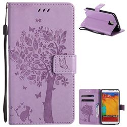 Embossing Butterfly Tree Leather Wallet Case for Samsung Galaxy Note 3 N900 - Violet